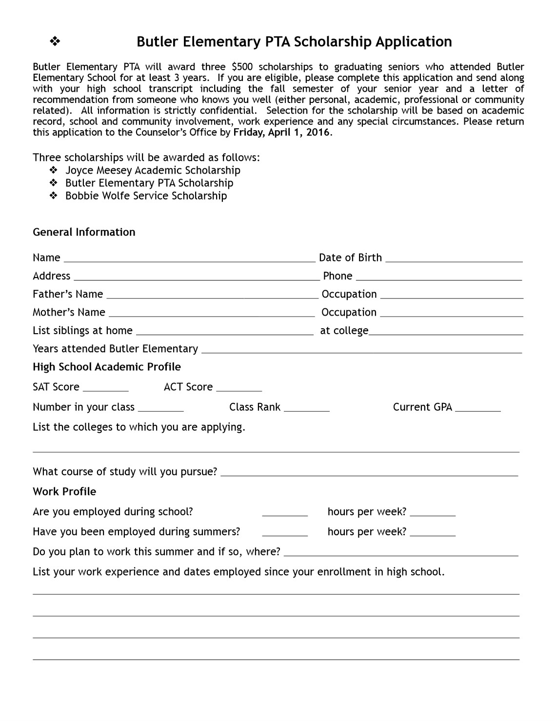 generic scholarship application form 2015-2016 Butler Elementary PTA Scholarships – Butler Elementary PTA