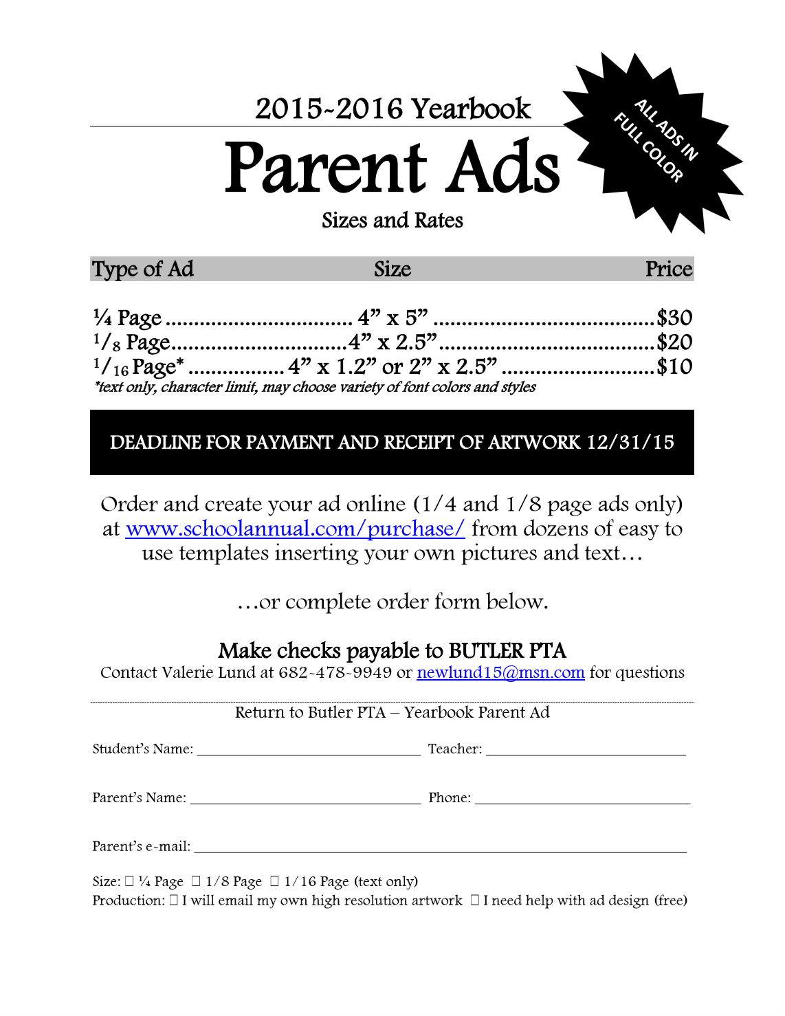 Yearbook Sales & Ads – Butler Elementary PTA